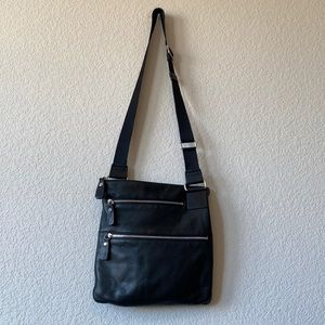 Margot black leather crossbody adjustable strap